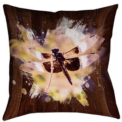 Hansard Watercolor Dragonfly Outdoor Throw Pillow Size: 18 x 18