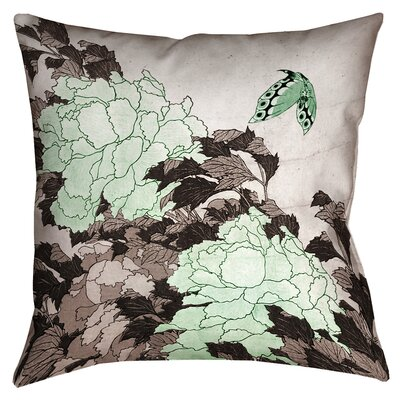 Clair Peonies with Butterfly Cotton Throw Pillow Color: Green, Size: 16 x 16