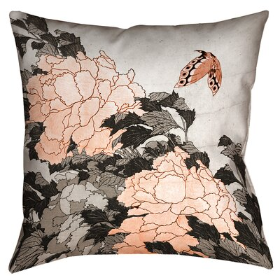Clair Peonies with Butterfly Cotton Throw Pillow Color: Orange, Size: 26 x 26