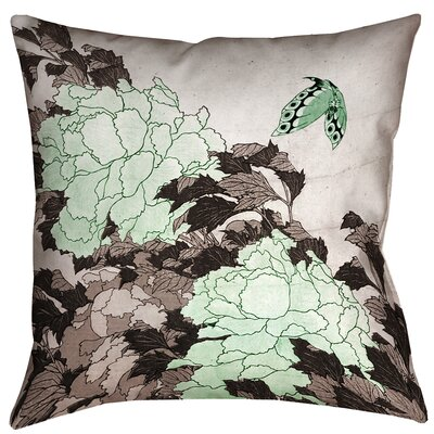 Clair Peonies with Butterfly Square 100% Cotton Pillow Cover Size: 14 x 14, Color: Green