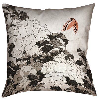 Clair Peonies with Butterfly Square 100% Cotton Pillow Cover Size: 14 x 14, Color: Orange/Gray
