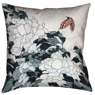 Clair Peonies with Butterfly Square 100% Cotton Pillow Cover Size: 16 x 16, Color: Peach/Gray