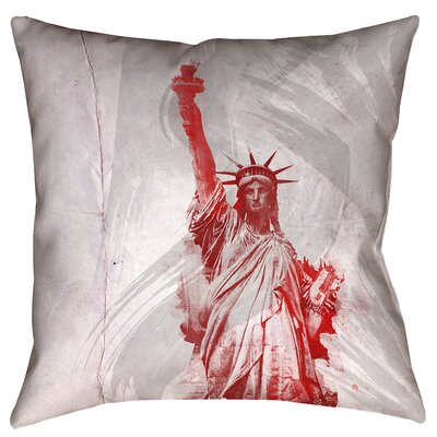 Houck Watercolor Statue of Liberty Waterproof Linen Pillow Cover Size: 18 x 18