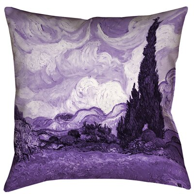 Belle Meade Wheatfield with Cypresses Square Indoor Pillow Cover Color: Purple, Size: 18 x 18