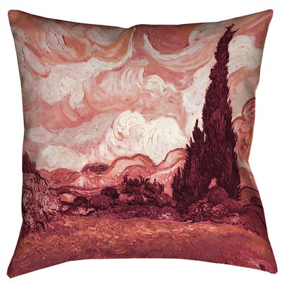 Belle Meade Wheatfield with Cypresses Square Indoor Pillow Cover Size: 14 x 14, Color: Red