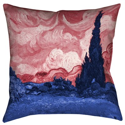Belle Meade Wheatfield with Cypresses Square Indoor Pillow Cover Size: 16 x 16, Color: Red/Blue