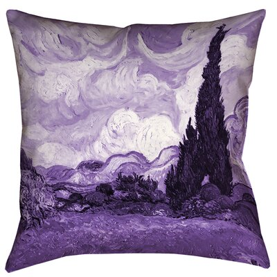 Belle Meade Wheatfield with Cypresses Indoor Throw Pillow Color: Purple, Size: 14 x 14