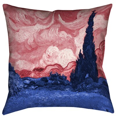 Belle Meade Wheatfield with Cypresses Indoor Throw Pillow Size: 14 x 14, Color: Red/Blue