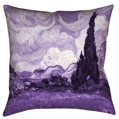 Belle Meade Wheatfield with Cypresses Outdoor Throw Pillow Size: 16 x 16, Color: Purple
