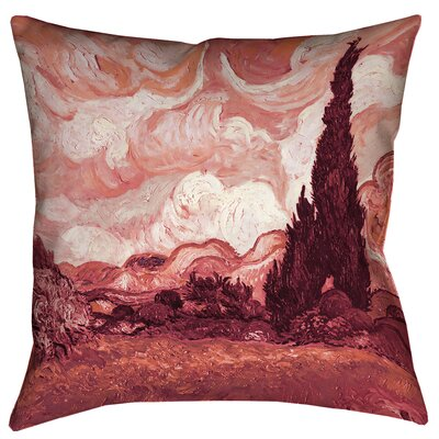 Belle Meade Wheatfield with Cypresses Outdoor Throw Pillow Size: 18 x 18, Color: Red