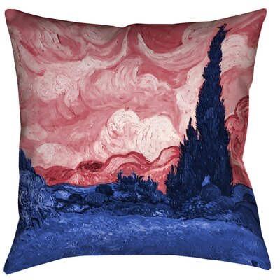 Belle Meade Wheatfield with Cypresses Outdoor Throw Pillow Size: 18 x 18, Color: Red/Blue