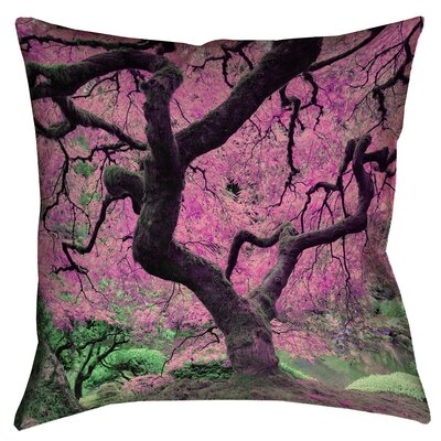 Ghost Train Japanese Maple Tree Zipper Square Throw Pillow Size: 18 x 18, Color: Pink