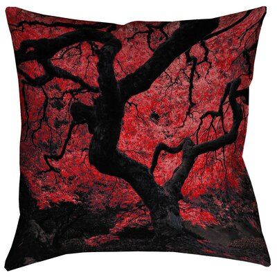 Ghost Train Japanese Maple Tree Zipper Square Throw Pillow Color: Red, Size: 20 x 20