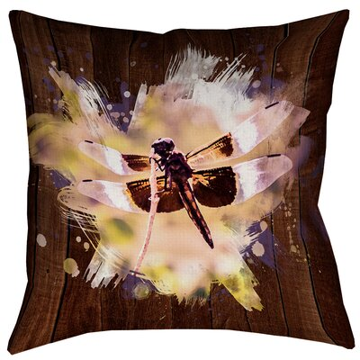 Hansard Watercolor Dragonfly Square Linen Pillow Cover Size: 14 x 14
