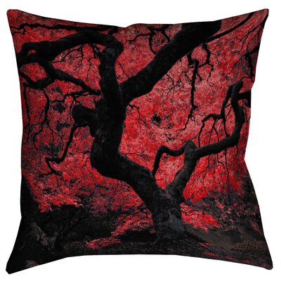 Ghost Train Japanese Maple Tree Printed Pillow Cover Size: 14 x 14, Color: Red