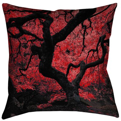 Ghost Train Japanese Maple Tree Square Pillow Cover Size: 14 x 14, Color: Red