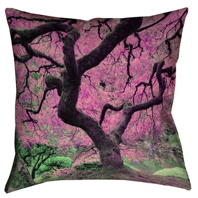 Ghost Train Japanese Maple Tree Square Pillow Cover Color: Pink, Size: 14 x 14