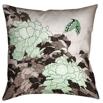 Clair Peonies with Butterfly Square Pillow Cover Color: Green, Size: 14 x 14