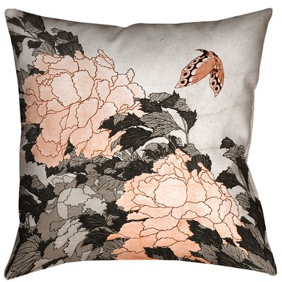 Clair Peonies with Butterfly Square Pillow Cover Color: Orange, Size: 16 x 16