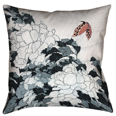 Clair Peonies with Butterfly Square Pillow Cover Size: 16 x 16, Color: Peach/Gray