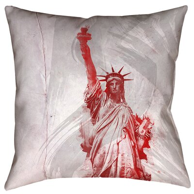 Houck Watercolor Statue of Liberty Cotton Throw Pillow Size: 14 x 14