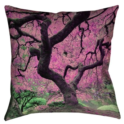 Ghost Train Japanese Maple Tree 100% Cotton Throw Pillow Size: 14 x 14, Color: Pink