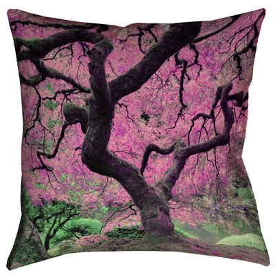 Ghost Train Japanese Maple Tree Square 100% Cotton Pillow Cover Size: 16 x 16, Color: Pink