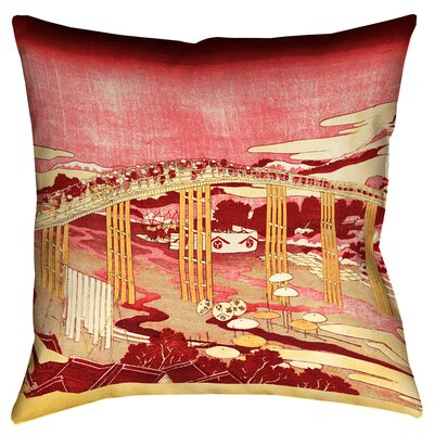 Clair Japanese Bridge Throw Pillow Size: 20 x 20, Color: Red/Orange