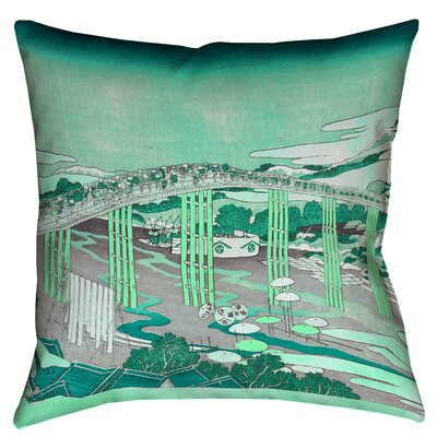 Clair Japanese Bridge Throw Pillow Color: Green, Size: 14 x 14