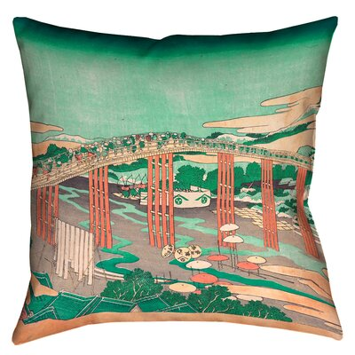 Clair Japanese Bridge Throw Pillow Size: 14 x 14, Color: Green/Peach