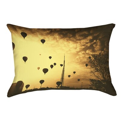 Deveal Sepia Hot Air Balloons Pillow Cover Material: Faux Linen