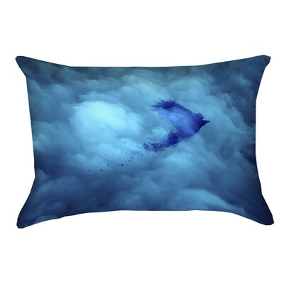 Hansard Watercolor Bird and Sky Outdoor Lumbar Pillow