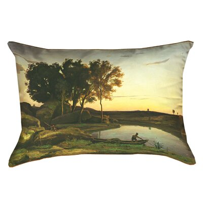 Swissvale Lake and Boatman Linen Lumbar Pillow