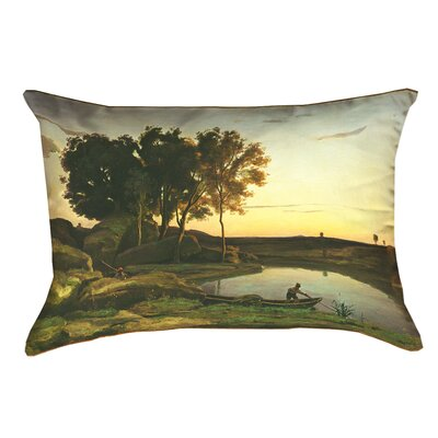 Swissvale Lake and Boatman 100% Cotton Pillow Cover