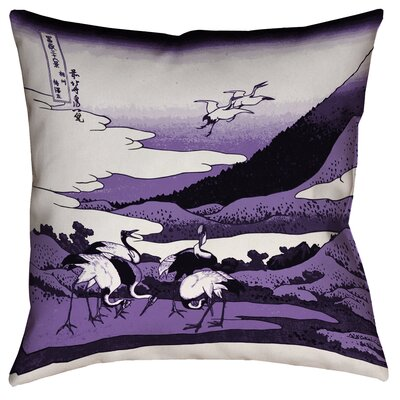 Montreal Japanese Cranes Linen Throw Pillow Size: 18 x 18 , Pillow Cover Color: Purple