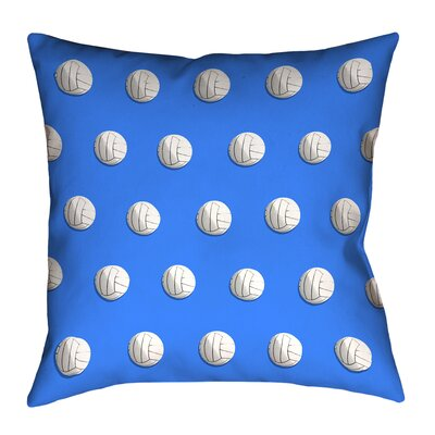 Volleyball Double Sided Print 100% Cotton Throw Pillow Size: 16 x 16, Color: Blue