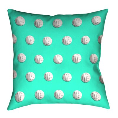 White Volleyball Throw Pillow Size: 16 x 16, Color: Teal