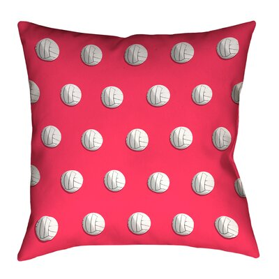 Volleyball Throw Pillow with Insert Size: 18 x 18, Color: Red