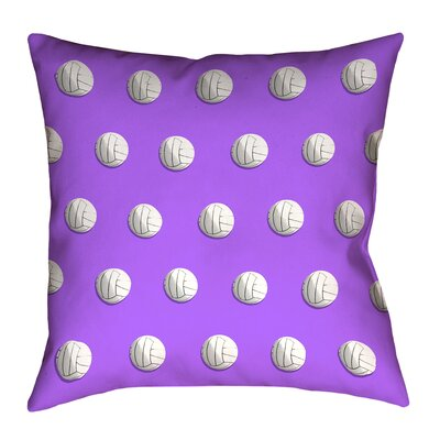 Volleyball 100% Cotton Throw Pillow with Concealed Zipper Color: Purple