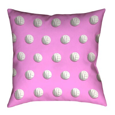 Volleyball Throw Pillow with Concealed Zipper and Insert Size: 18 x 18, Color: Pink