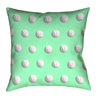 Volleyball Throw Pillow with Insert Size: 14 x 14, Color: Green