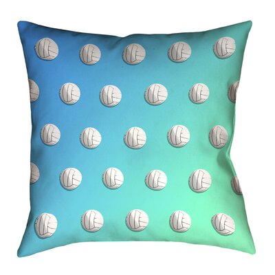 Volleyball 100% Cotton Pillow Cover Size: 26 x 26, Color: Blue/Green
