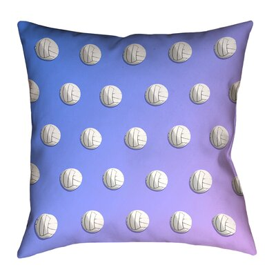 Volleyball 100% Cotton Pillow Cover Size: 26 x 26, Color: Blue/Purple