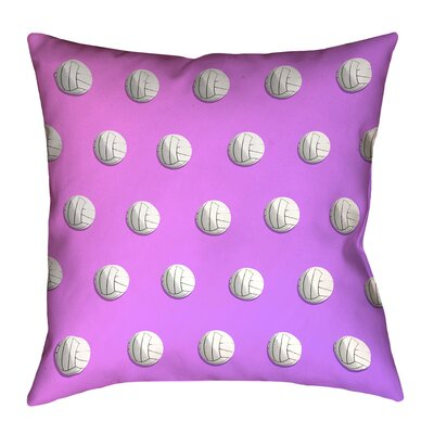 Volleyball 100% Cotton Pillow Cover Size: 18 x 18, Color: Pink/Purple