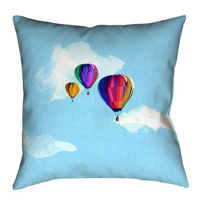 Hot Air Balloons Suede Pillow Cover Size: 18 x 18