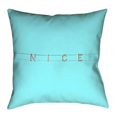 Hansard Nice Sign Suede Throw Pillow Size: 14 x 14, Color: Blue
