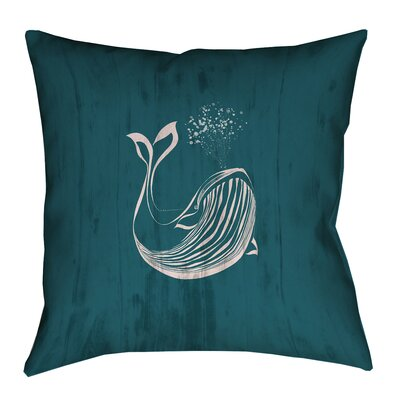 Lauryn Rustic Whale Square Pillow Cover Size: 14 x 14