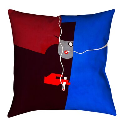 Hansard Vintage Art Poster Square Pillow Cover Size: 26 x 26, Color: Red/Blue