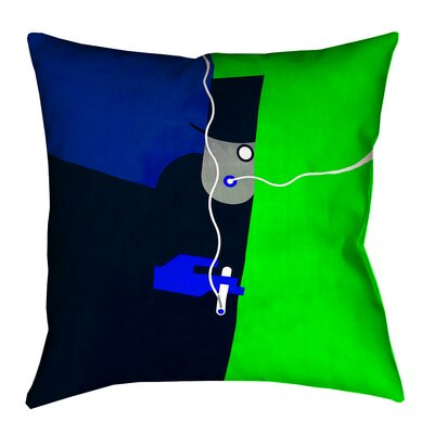Hansard Vintage Art Poster Square Throw Pillow with Zipper Size: 18 x 18, Color: Blue/Green
