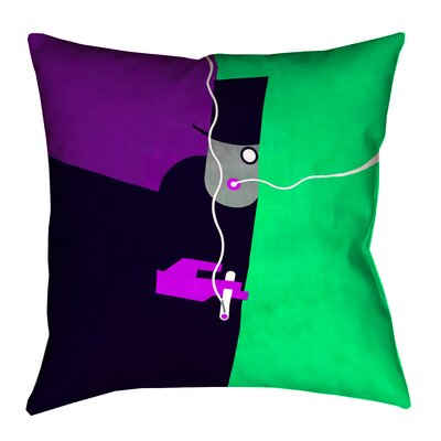 Hansard Vintage Art Poster Square Pillow Cover Size: 16 x 16, Color: Purple/Green